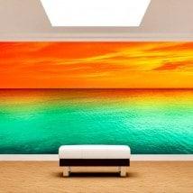 Coucher de soleil mer de photo mur murales