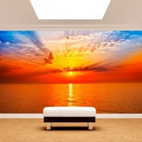 Mer de soleil coucher de soleil photo mur murales
