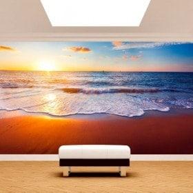 Photo mur murales coucher de soleil sur la plage