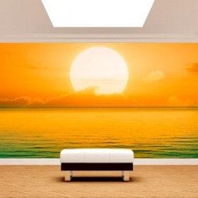 Peintures murales photo mettent du soleil en mer