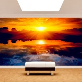 Fotomural soleil coucher de soleil mer