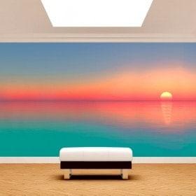 Couleurs du coucher du soleil de peintures murales photo mur