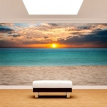 Peintures murales photo mettent du soleil dans la plage