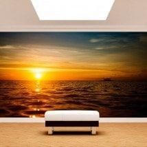 Peintures murales photo mettent du soleil dans la mer
