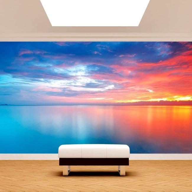 Fotomural soleil couchant sur la côte