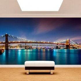 Photo mur murales pont de Brooklyn New York