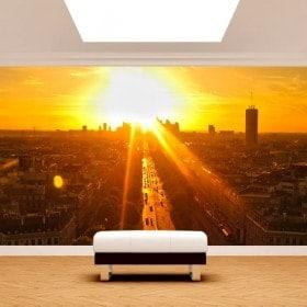 Paris photo murales au coucher du soleil