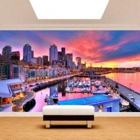Photo mur murales port de Seattle
