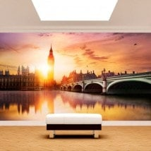 Coucher du soleil du Big Ben Londres murales mur photo
