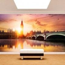 Coucher du soleil du Big Ben Londres murales mur photo