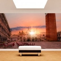 Coucher de soleil photo mur murales Plaza San Marco
