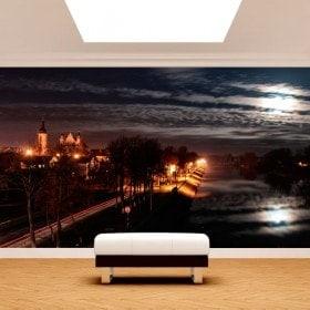 Photo mur murales ville de nuit