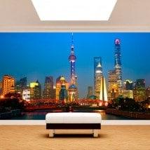Villes de peintures murales mur Photo Shanghai
