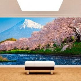 Photo mur murales Mont Fuji arbres fleur de cerisier