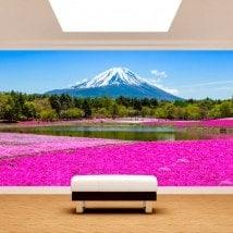 Photo mur murales jardins fleurs Roses Mont Fuji