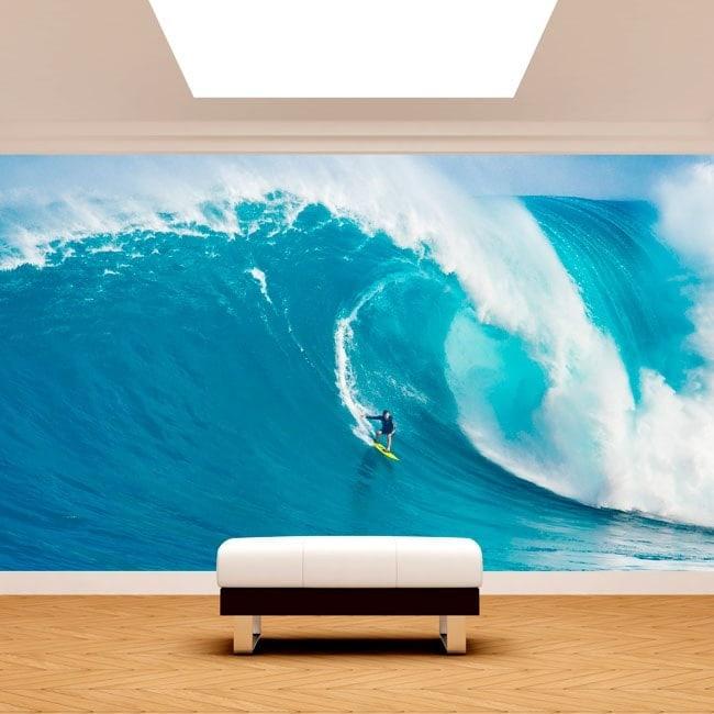 Fotomural surfe sur la vague de grande