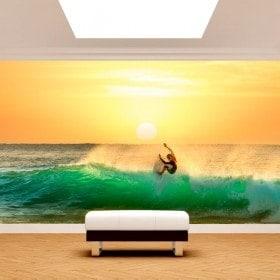 Fotomural surf au coucher du soleil