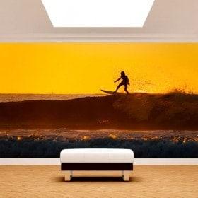 Photo mur murales surfer sur la vague