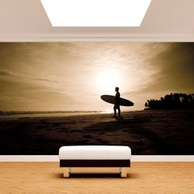 Fotomural surfer sur la plage