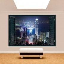 Fenêtre 3D Hong Kong City