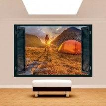 Coucher du soleil de montagne 3D fenêtre French 5108