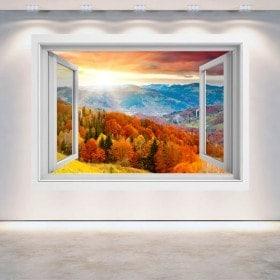 Windows 3D coucher de soleil dans les montagnes