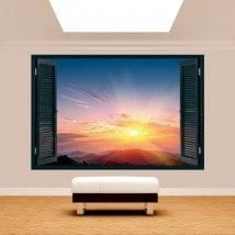 Windows 3D coucher de soleil en montagne