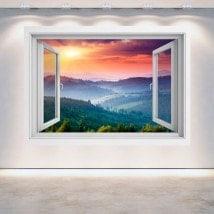 Montagnes du coucher du soleil de murs 3D Windows