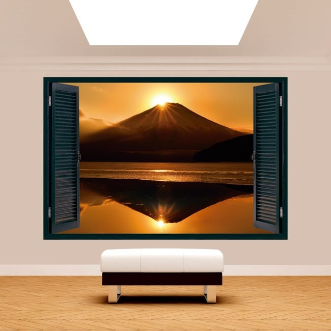Fenêtre 3D Mont Fuji coucher de soleil lac Kawaguchi