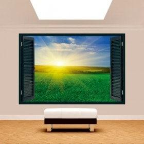 Windows 3D soleil dans l'horizon