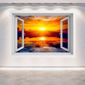 Fenêtre 3D soleil coucher de soleil mer