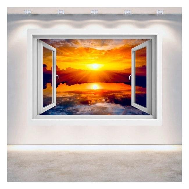 3D mer coucher de soleil fenêtre