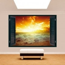 Fenêtre 3D de soleil Sunset Beach