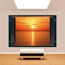 Fenêtre 3D mise en place du soleil dans la mer