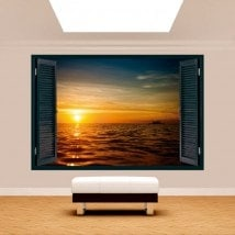 Mer de coucher de soleil 3D Windows French 5125