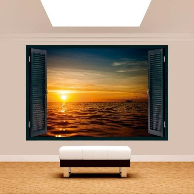 Mer de coucher de soleil 3D Windows French 5125
