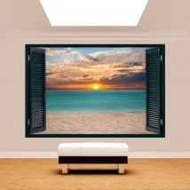 Windows 3D coucher de soleil sur la plage French 5126