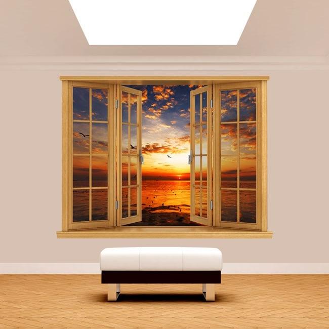 Fenêtre 3D coucher soleil mer