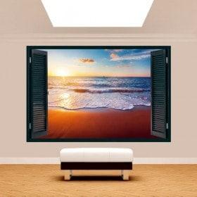 Windows 3D coucher de soleil sur la plage