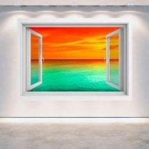 Mer de coucher de soleil 3D Windows French 5134