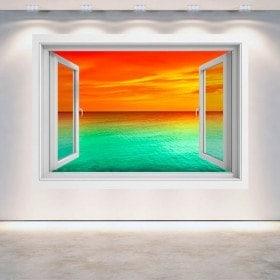Mer de coucher de soleil 3D Windows