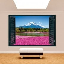 Windows 3D jardin fleurs Roses Mont Fuji