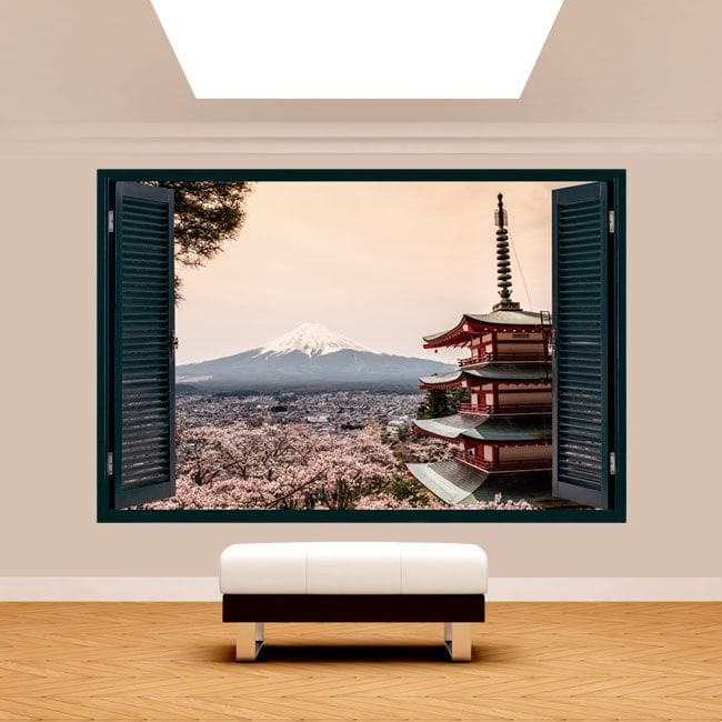 Fenêtre 3D pagode Monte Fuji