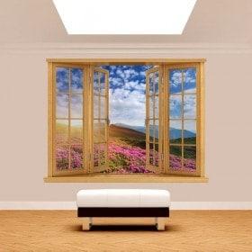 Fleurs 3D Windows dans les montagnes