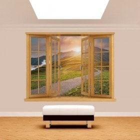 Coucher du soleil de montagne 3D fenêtre