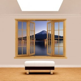 Fenêtre 3D Mont Fuji lac Kawaguchi