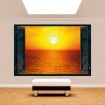 Windows 3D soleil coucher de soleil sur la mer
