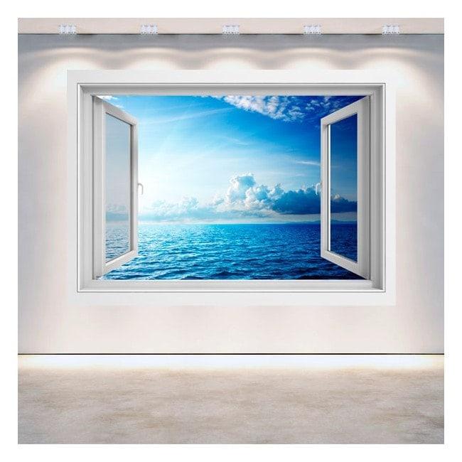 Fenêtre du coucher du soleil de la mer 3D