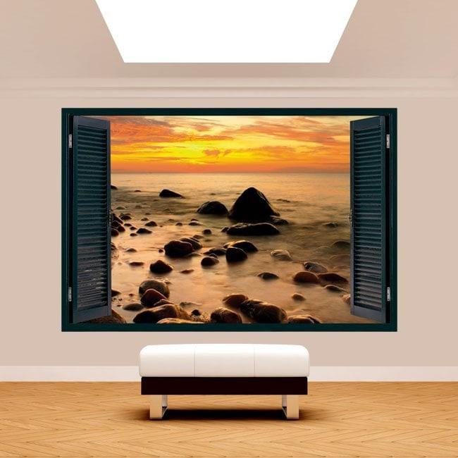 Fenêtre 3D coucher de soleil dans la mer Baltique