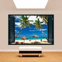 Palmiers 3D de fenêtre sur la plage